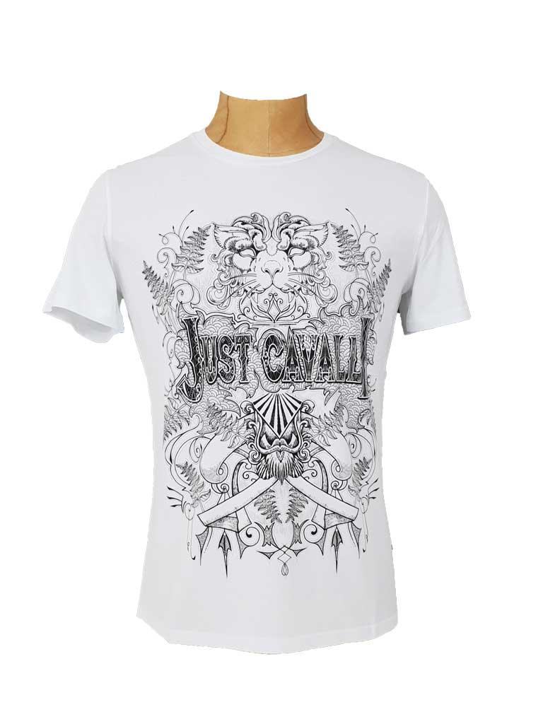 best website 3afc4 22da4 Just Cavalli weißes Herren T-Shirt mit Print vorne